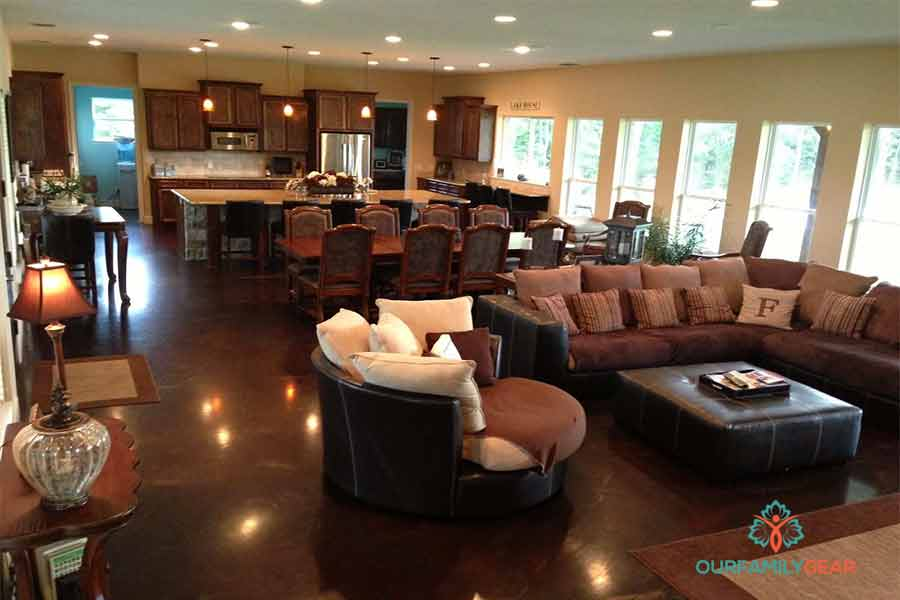 How To Place Furniture In Open Plan Kitchen, Dining And Family Room