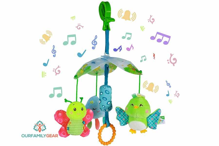 how do you hang stroller toys,