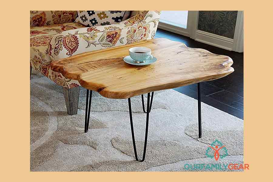 surfboard coffee table, wood block coffee table,